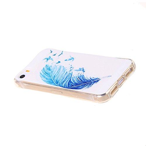 PowerQ Bubble Blase Serie Tropfen Widerstand buntes Muster TPU Case Hülle < Blue feather birds - für IPhone6SPlus IPhone 6SPlus 6Plus IPhone6Plus >           4-Corner Gassack Blase Stoßstange Airbag Drop Resist