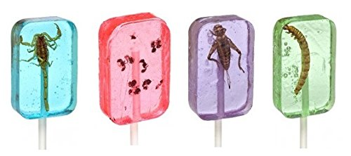 Insect Sucker Lollipop Bundle - Pack of 4 - Scorpion, Ants, Cricket, And Worm - Flavors Vary - With Licensed Sticker by Hotlix