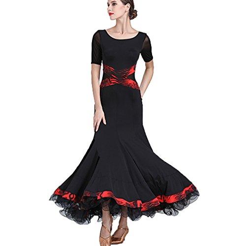 Wqwlf Da Wear Maniche Ballo Donne Valzer Prestazione Sociale Sala Delle s Moderno L Pratica Tango Di Costume Vestito Gonna Black Corte Dance pr5paq