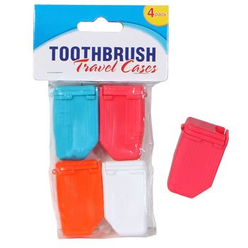 Set of 4 Toothbrush Protective Caps, Toothbrush Case, Sanitary and Allows for Air Flow: Red, White, Blue and Orange, For Adults and Children, Use in Bathroom or While Traveling in a Kit