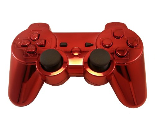 PS3 Modded Controller with 78 Mods (Rapid-fire, Drop Shot, Auto-aim, Jitter COD MW3, Black Ops, MW2) RED Chrome Finish