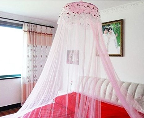 Loisleila Princess Lace and Net Round Bed Canopy by 120-Inch with Light (Pink) by Loisleila (Image #6)