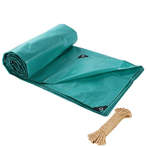 ZAQI Outdoor Tarp with Grommets, Waterproof Poly Green Tarpaulin, Reinforced Edges Tarps for Truck Roof Boat Cover, 0.25mm, 195g (Size : 3M×4M)