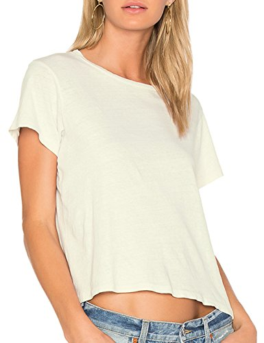 ALLY-MAGIC Womens Short Sleeves Crop Top Boxy T-Shirt Summer Casual Classic Tee