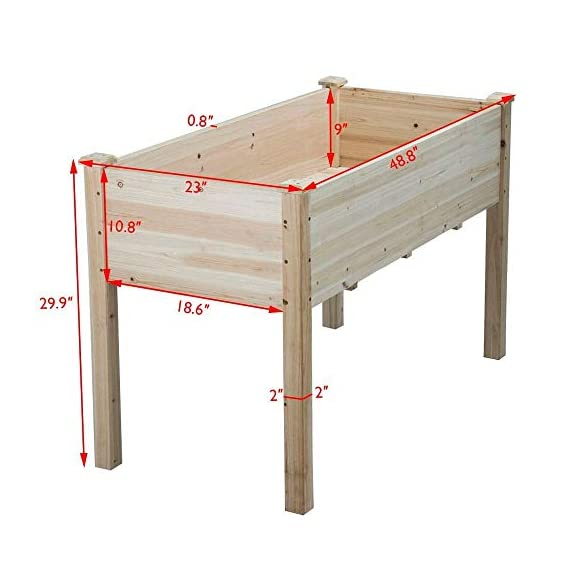 YAHEETECH Wooden Raised/Elevated Garden Bed Planter Box Kit for Vegetable/Flower/Herb Outdoor Gardening Natural Wood, 49 x 23.2 x 30.1in 2 Natural solid wood: This natural raised garden bed is made of non-paint, harmless 100% solid wood, which is known for its strength and dimensional stability as well as its natural resistance with a pleasing wooden smell. It is normal that there are wood knots on the surface. That's a natural phenomenon when the wood is growing. Single piece of side plate: Comparing to other planting beds that have several small pieces of wooden plates at the side, our planting raised bed has a piece of complete side plate at each side of the garden bed. This single-piece design makes the whole structure very stable, and the installation very easy. The side plates are fixed firmly without leakage of soil. Backache-friendly design: Given its 76.5cm/30.1'' height, people with backache/knee pain can easily manage the plants without bending down and taking the risk of pain. The thick solid wood boards are sanded well to prevent any undesired injury caused by wood splinters.