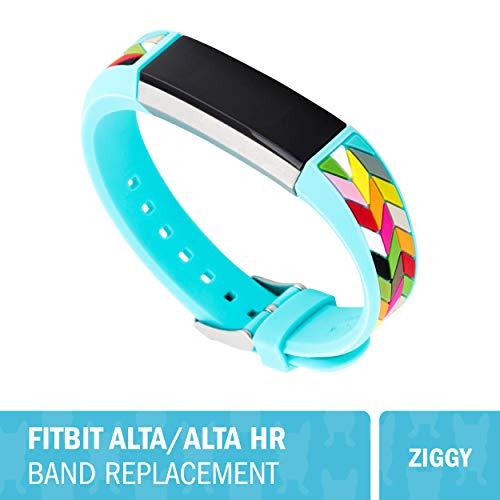 WITHit French Bull Designer Silicone Fitbit Alta/Alta HR Band - Secure, Adjustable, Fitbit Watch Band Replacement, Fits Most Wrists (5.5-7.25) Sweat-Resistant Accessories (Ziggy)