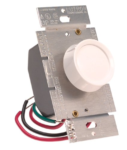 (Lutron Electronics D603-PH-WH Incandescent Push On/Off 3-Way Rotary Dimmer Switch)