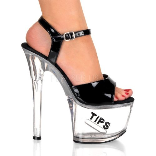 Pleaser Tipjar-709-5 - Sexy Plateau High Heels Sandaletten mit Tip-Slot 35-45