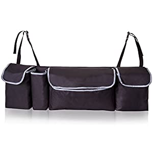 TriGear Adjustable 2 in 1 Trunk Storage and Back Seat Car Organizer for Space Saving with Heavy Duty Design Fits Any SUV, Truck, Van, Minivan, Auto, Hatchback