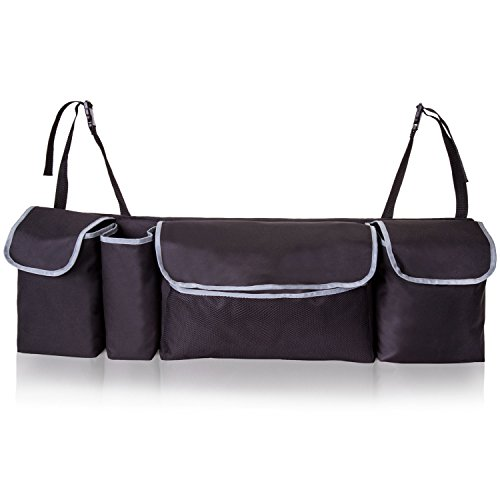 Silk Organizer - TriGear Adjustable 2 in 1 Trunk Storage and Back Seat Car Organizer for Space Saving with Heavy Duty Design Fits Any SUV, Truck, Van, Minivan, Auto, Hatchback