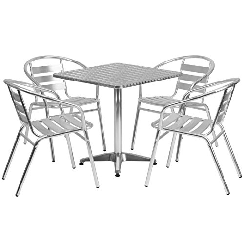 MFO 27.5'' Square Aluminum Indoor-Outdoor Table with 4 Slat Back Chairs