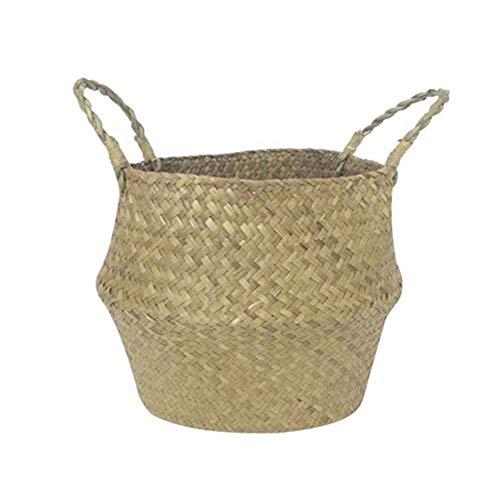 Cesta de flores hechas a mano, cesta de mimbre - Cesta de mimbre de 1PC Seagrass Cesta de cesta de frutas cesta de frutas...