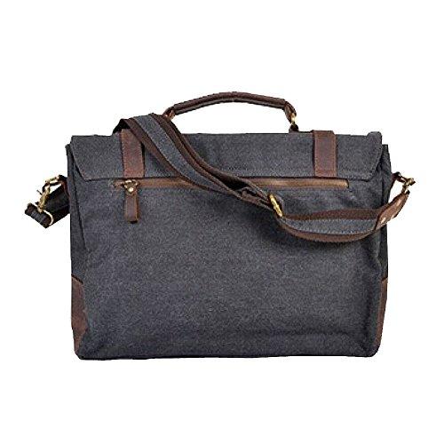Paonies Herren Canvas Leder Messenger Bag Handtasche Aktentasche Umhängetasche (Grau) Grau gHurXe