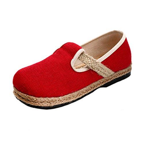 Giy Mocasines Retro Para Mujer Mocasín Plano Slip-on Redondo Del Dedo Del Pie Correa De Lino Casual Mocasines Vestido Sandalias Zapatos Rojo