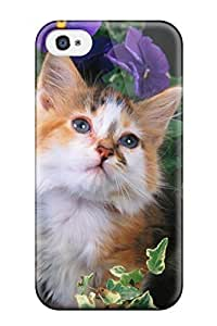 Hot Tpu Cover Case For Iphone/ 4/4s Case Cover Skin - Cat With Flowers