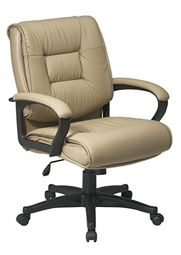 Office Star Deluxe Mid Back Executive Glove Soft Leather Chair with Padded Loop Arms, Tan