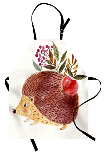 Ambesonne Animal Apron, Cute Hand Painted Illustration with Adorable Hedgehog with Flowers in Watercolors, Unisex Kitchen Bib Apron with Adjustable Neck for Cooking Baking Gardening, Multicolor ()