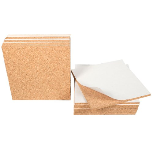 Cork Sheet with adhesive 6In X 6In X 1/4In Thick - 16Pcs set by The Felt Store