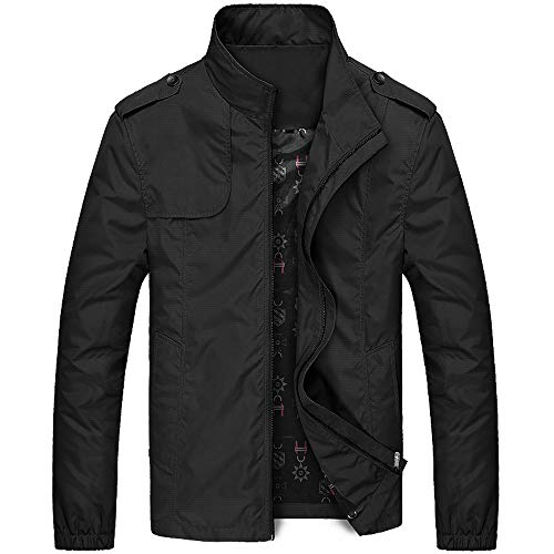 Coats for Men Jackets for Men Autumn Winter Casual Zipper Stand Collar Pocket Pure Color Jacket Coat