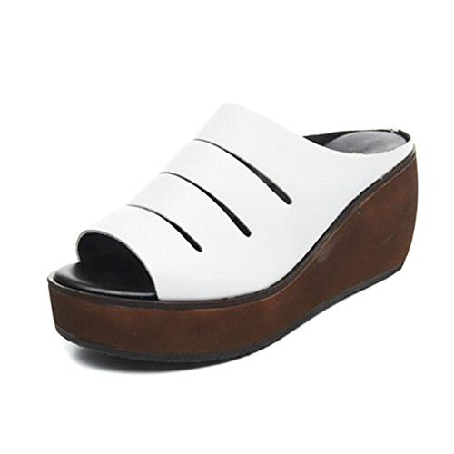 Tamaño US7 Verano Talón Mujeres Altura Fondo PENGFEI Pantofola 240 Colores EU38 2 Cuña Blanco Las UK5 Zapatillas 7CM De Moda 5 Negro Grueso del Color qBUndB