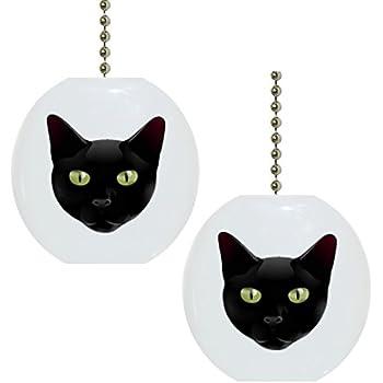 Set Of 2 Black Cat Head Solid Ceramic Fan Pulls Ceiling