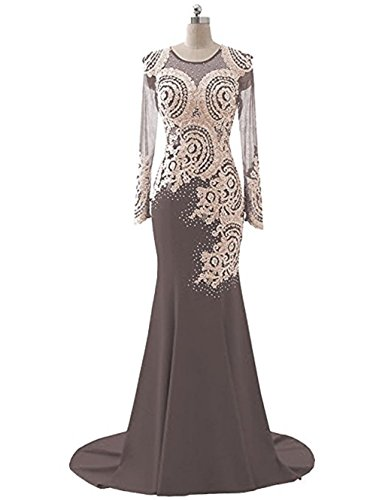 Gown Beaded Appliques Bridal Evening Lace LiCheng Bodice Floor Sheer Dress Women's Sleeve Long Length Coffee Dress 1 Mermaid Rhinestone Prom 7Axv6A