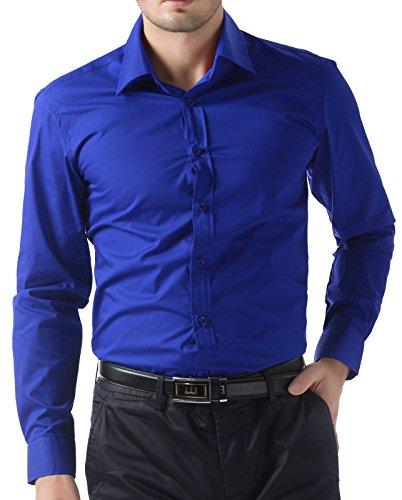 Wholesale Cotton Dresses - PJ PAUL JONES Wholesale Cotton Tops Semi Casual Shirts(4XL,Royal Blue)