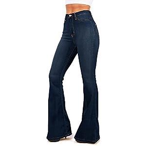 111471e6cf Vibrant Women's Juniors Bell Bottom High Waist Fitted Denim Jeans