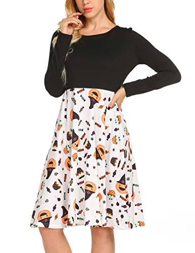 Prints Halloween Festival Flare White Criss Cross Dress Long Tobrief Womens Holiday Dress Sleeve Midi wAFXAqd