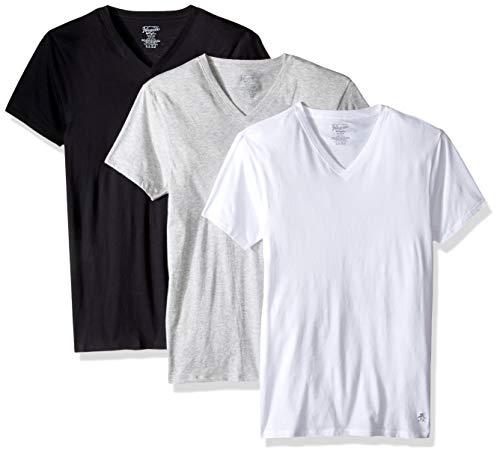 Original Penguin Camisetas con Cuello en V Ajustadas para Hombre, Wht/Hthgry/Blk, Large