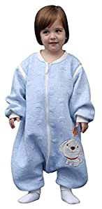 Swaddle Baby Wearable Winter Blanket Zipper Wind-Proof Sleepsack 1-3 Years Light Blue