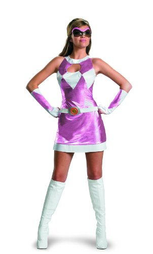 Power Rangers Pink Ranger Deluxe Costume w/Goggles & Glovelettes Adult 8-10 (Power Ranger Belt)