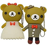 FEBNISCTE Wedding Gift 32gb USB 2.0 Flash Drive Cute One Pair Bear Memory Stick