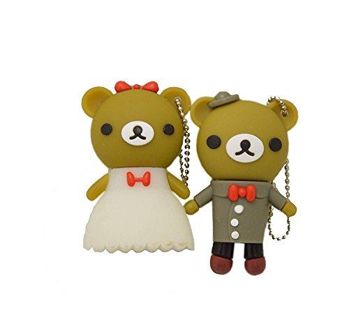 FEBNISCTE Wedding Gift 8gb USB 2.0 Flash Drive Cute One Pair Bear Memory Stick (Bear)