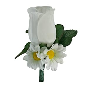 Daisy Rose Silk Boutonniere - Groom Boutonniere Wedding Prom 117