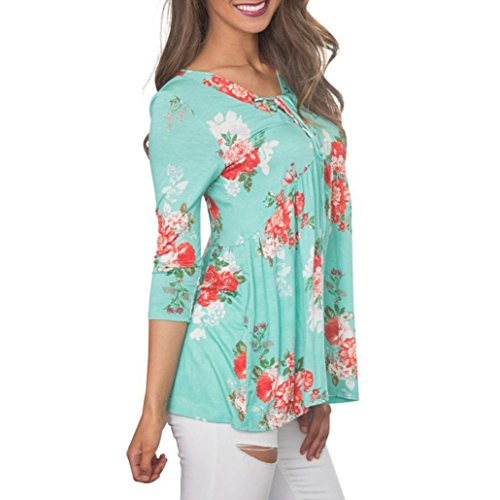 BSGSH Womens Lace Up V Neck Tunic Tops 3/4 Sleeve Floral Print Flowy T Shirt Blouse