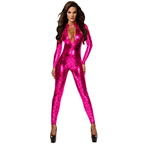 c8abda793f ThinkMax Women Costume Deep V Neck Sexy Jumpsuit Scale Pattern Rompers Role  Play Car Model Clothes