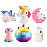 WATINC Random 4Pcs Unicorn Squishy Sweet Scented Vent Charms Slow Rising squishies Kawaii Kid Toy , Lovely Stress Relief Toy, Animals Gift Fun Large(Red Unicorn Set)