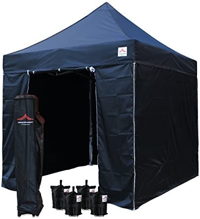 UNIQUECANOPY 8 x8 Ez Pop Up Canopy Tent Commercial Instant Shelter, with 4 Removable Zippered Side Walls and Heavy Duty Roller Bag, 4 Sand Bags Black
