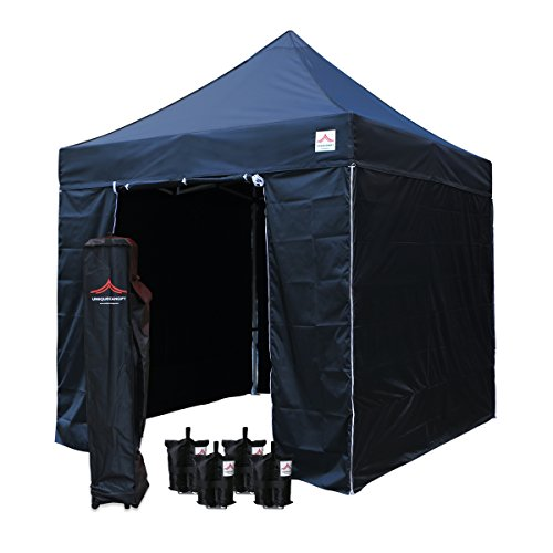UNIQUECANOPY 8'x8' Ez Pop Up Canopy Tent Commercial Instant Shelter, with 4 Removable Zippered Side Walls and Heavy Duty Roller Bag, 4 Sand Bags Purple