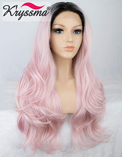 K'ryssma Ombre Pink Lace Front Wigs - Long Wavy Glueless Synthetic Hair 2 Tones Dark Roots to Baby Pink Wig Heat resistant 22 inches