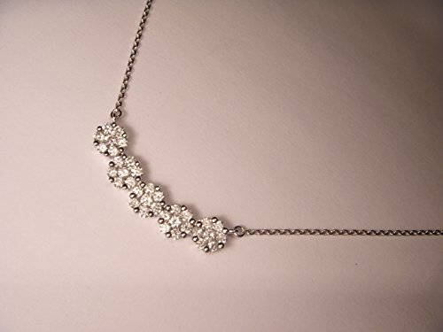 Stunning 14K White Gold Diamond Floral Flower Lariat Bar Pendant Necklace ()