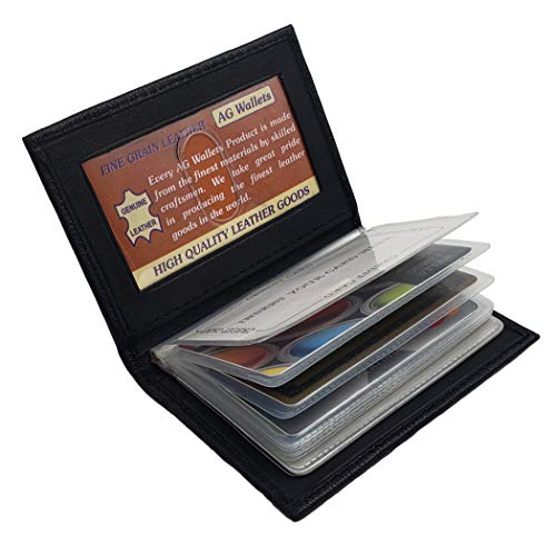 AG Wallets Genuine Leather Credit Card/Pictures Insert Wallet (Black)
