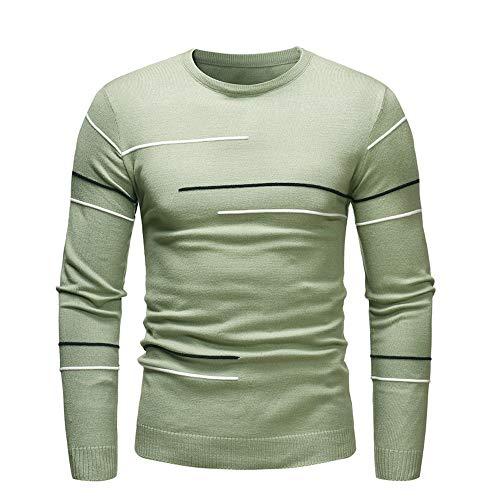 iYBUIA Autumn Winter Men's Striped Sweater Pullover Slim Jumper Knitwear Outwear Blouse(Green,L)