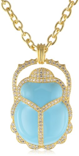 "CZ by Kenneth Jay Lane Triple Chain with Enamel Scarab Pendant Necklaces, 16"", 2 CTTW"