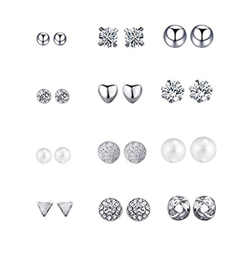 Silver Knot Stud Set (Geerier Silver Stud Earring Set Assorted Multiple Geometric Round Ball Heart Love Knot Snowflake Earrings)