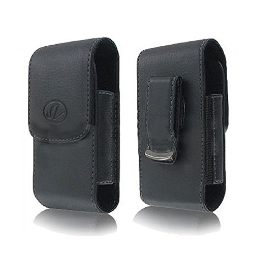 Leather Vertical Sviwel Belt Clip Case Holster with Magnetic Closure FOR Virgin Mobile ZTE Awe / Emblem Fits phone w/ DUAL Thick Layer Case on it (Virgin Mobile Awe Case compare prices)