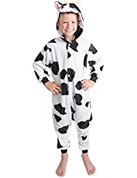 Emolly Kids Cow Animal Onesie Pajama Costume - Soft and Comfortable With Pockets! Fun As a Costume or Pajamas - 5% Of Sales Donated To San Diego Zoo Global Wildlife conservancy