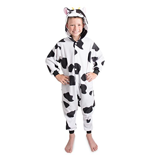 Emolly Fashion Kids Animal Cow Pajama Onesie - Soft and Comfortable with Pockets (4, Blk/Wht)