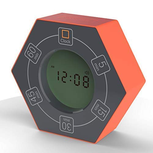 Hexagon Rotating Timer, 5, 15, 30, 45, 60 Minute Preset Countdown Timer (Orange) ()